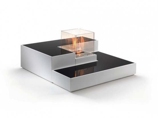 Tetris-Inspired Modern Bio Fireplace - Digsdigs