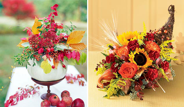 bold Thanksgiving centerpieces   a white pumpkin with bright florals and leaves and a cornucopia with bold flowers and wheat are amazing for Thanksgiving