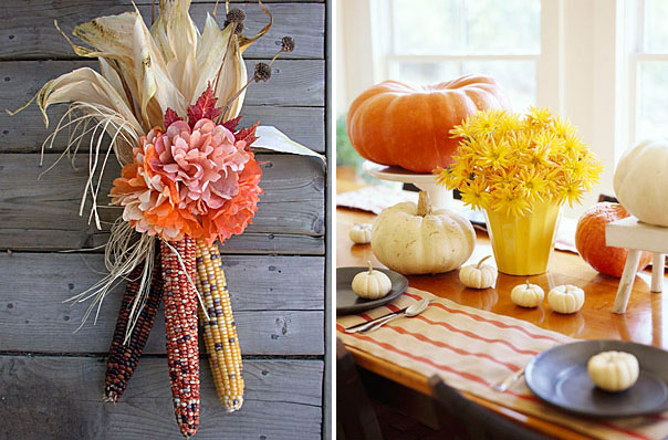 corn cobs decorated with a bright bloom and a bold Thanksgiving tablescape with white and orange pumkins and bold blooms in a planter looks veyr cozy and very chic