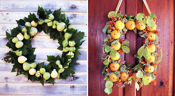 a wreath of greenery, apples and pear and a wreath of greenery, berries and fruits will be amazing options for Thanksgiving