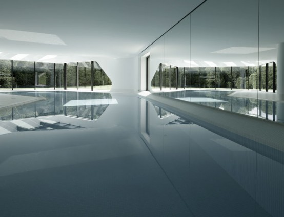 the most futuristic house interior pool