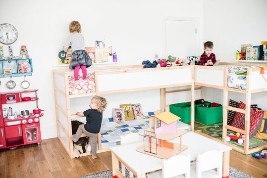 these beds are perfect for a shared kids room combined with a playroom