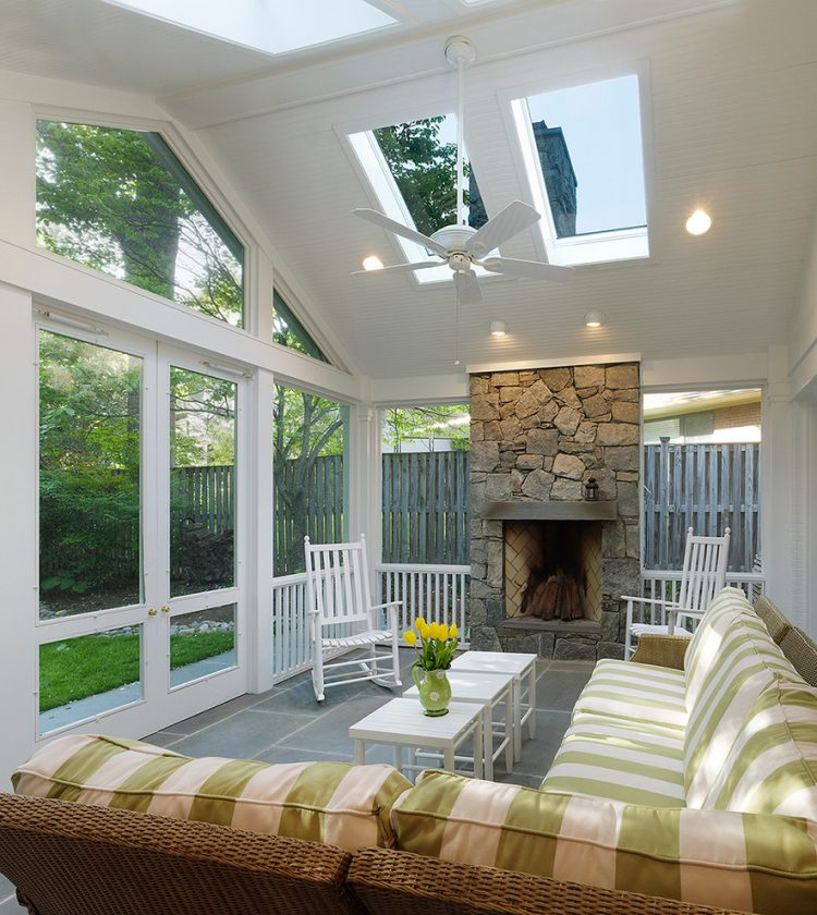 75 Awesome Sunroom Design Ideas DigsDigs : this screen porch addition features a ceiling fan and a fireplace so owners are able to cool down or warm up the place 750x840 from www.digsdigs.com size 750 x 840 jpeg 121kB