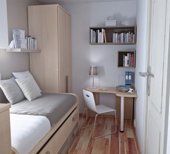 here is a simple but effective layout idea for a narrow teenage room - Teen Room Furniture