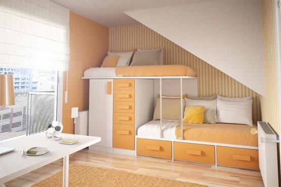 Simple tween girl room layout suitable for attic.