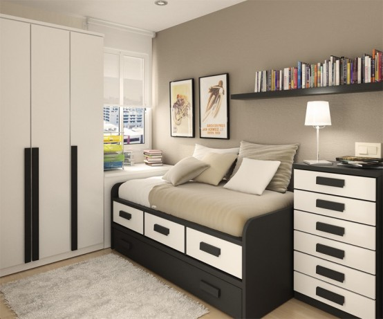 thoughtful small room layout with sleeping and working spaces in a. Black Bedroom Furniture Sets. Home Design Ideas