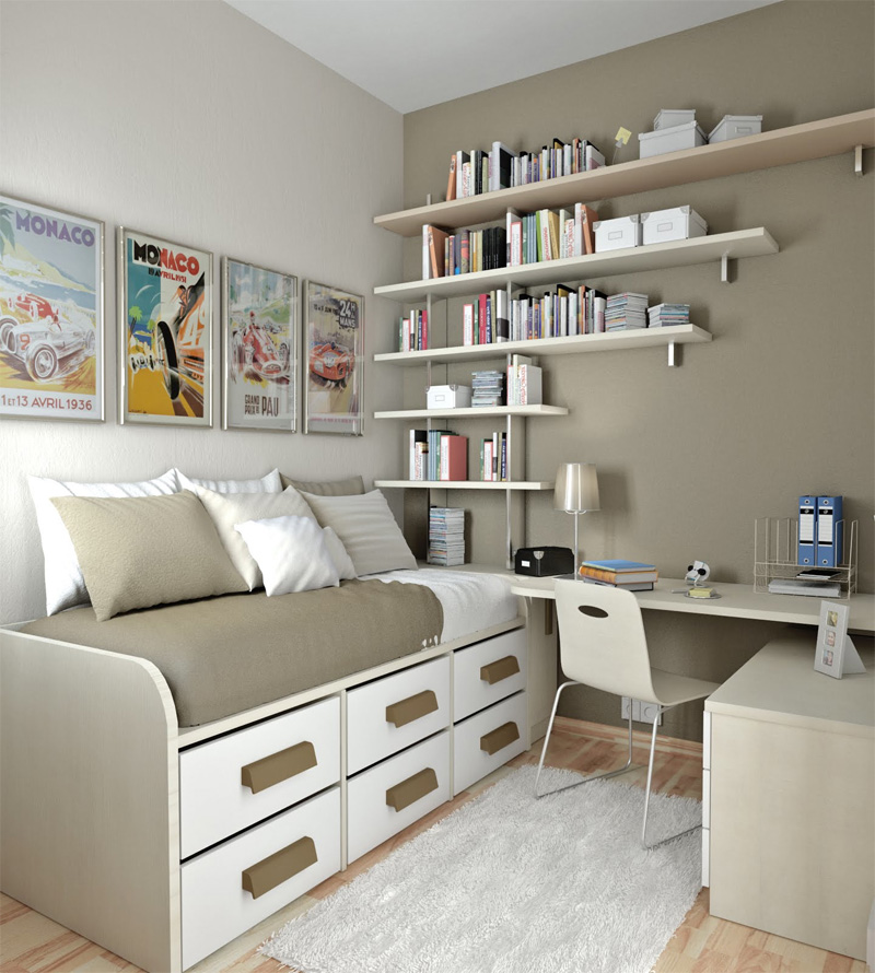 50 thoughtful teenage bedroom layouts digsdigs for Small room office