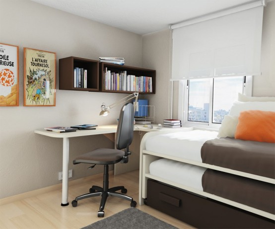 Compact tween boy bedroom layout. Brown/beige combo looks great, btw!