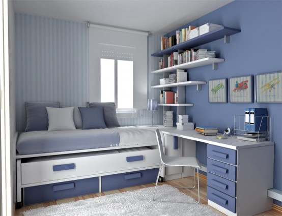 Blue is always a great color choice for a teenage boy room. Just make sure its shade is interesting.