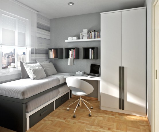 Grey is a good neutral color choice for a modern teenage room.