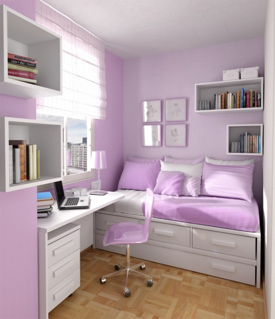 Thoughtful small room layout with sleeping and working spaces in a typical  for a girl color