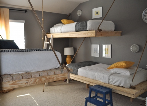 Bedroom For Three Boys With DIY Hanging Beds