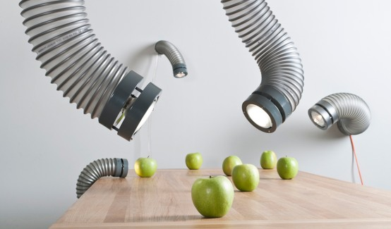 Throat Lights Modeled After Industrial Ventilation Pipes