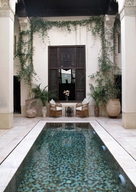 tight plunge swimming pool in a Morocco-styled backyard