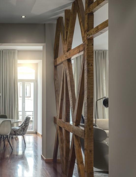Timeless and elegant lisbon apartment with eclectic - Separation de piece en bois ...