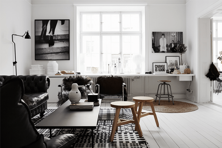 timeless black and white apartment with its own