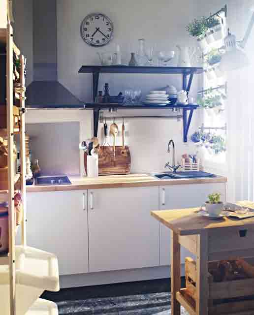 Tiny Kitchen With A Vertical Herbs Garden