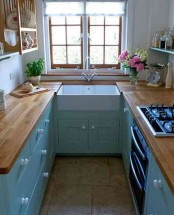 a tiny blue kitchen with butcherblock countertops and open shelves over the cabinets plus a view is cozy and cool