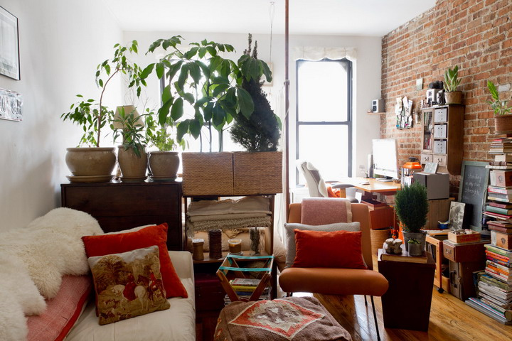 tiny manhattan studio with smart storage and eclectic decor digsdigs