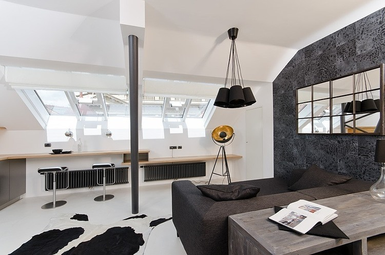 Tiny minimalist black and white loft in prague digsdigs for Design apartment 50m2