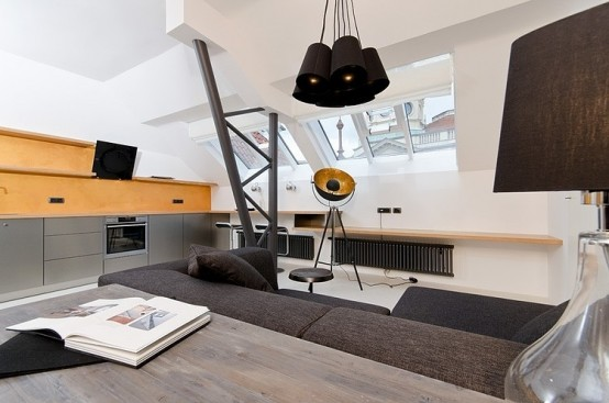 Tiny Minimalist Black And White Loft In Prague