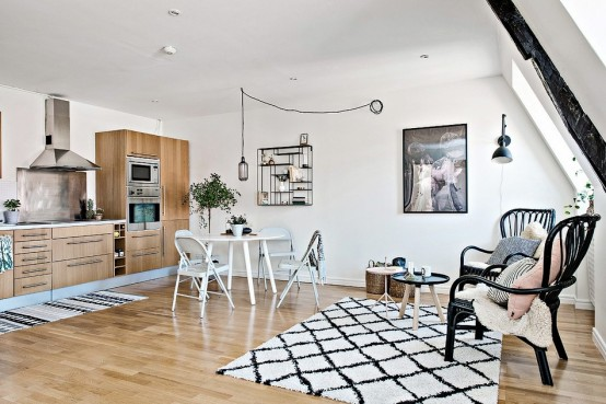 terrific scandinavian one room studio apartment in gothenburg digsdigs   Tiny Scandinavian Apartment With A Smart Space-Saving ...