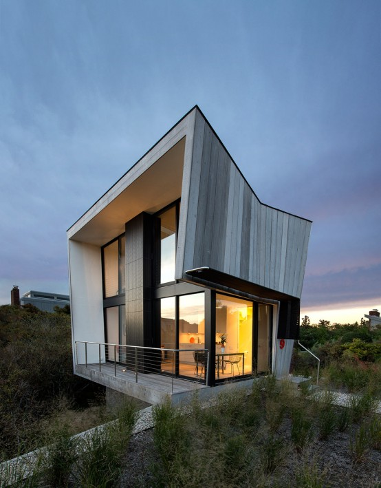 Tiny Two-Story Beach House With Geometric Design
