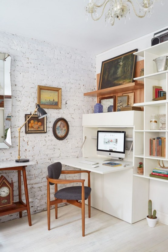 33 tiny yet functional home office designs digsdigs for Functional living room ideas