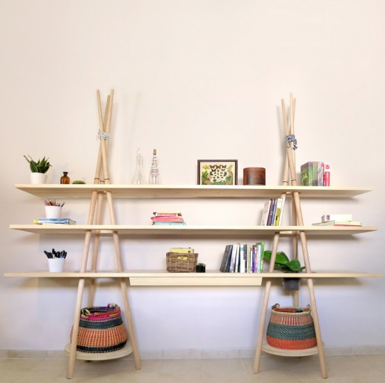 Tipi Modular Shelving System Evoking The Spirit Of Traveling