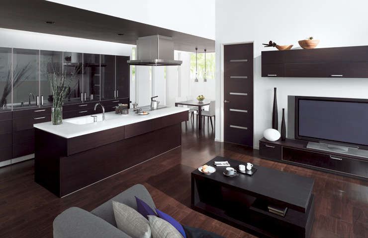 Combine kitchen and living room with cuisia by toto digsdigs for Living room n kitchen
