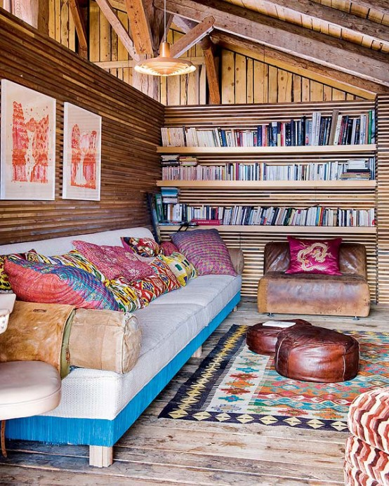 Traditional Alps Chalet With A Colorful Interior