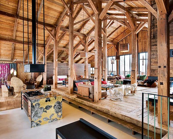 Traditional alps chalet with a colorful interior digsdigs - Chalet modern design ...
