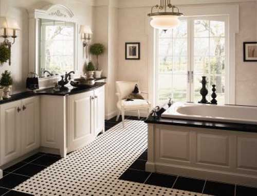 Fancy Traditional Black And White Bathroom