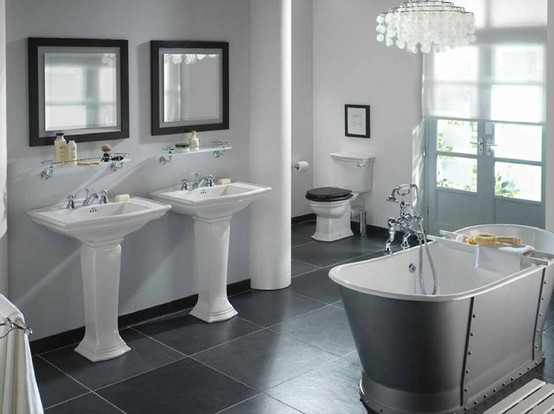 23 traditional black and white bathrooms to inspire digsdigs for Monochrome bathroom designs