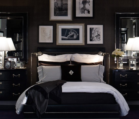 19 traditional black and white bedroom that inspire digsdigs for Black wall room ideas