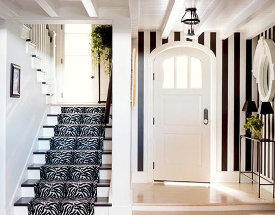 Traditional Black And White Hallway