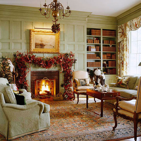 40 traditional christmas decorations digsdigs for Xmas living room ideas