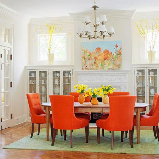Traditional Dining Room With Orange Color Pop