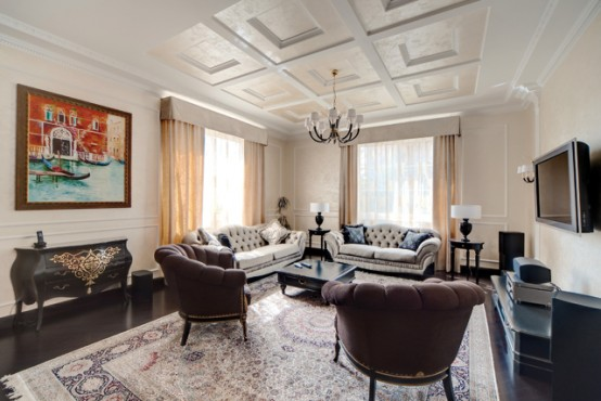 Traditional Interior Design In Creme Color Scheme With Dark Furniture