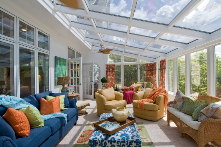 traditional sunroom design with two conversation zones - Sunroom Ideas Designs