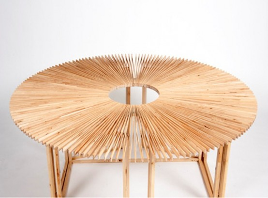 Transformable FAN Table Of Birch Wood by Mauricio Affonso