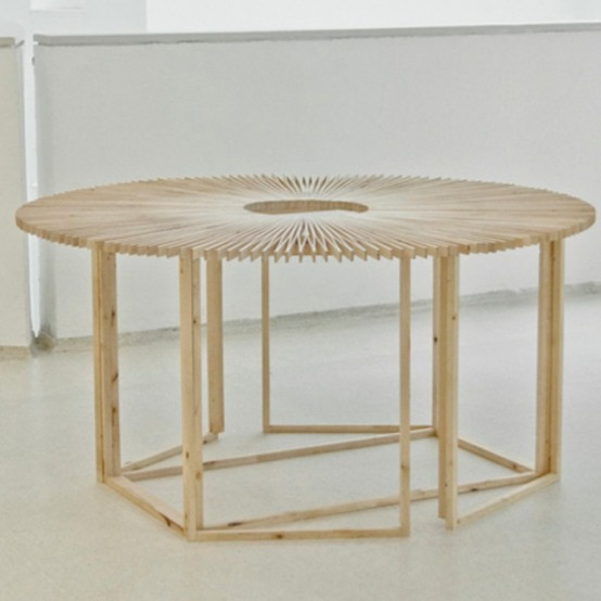 Transformable Fan Table Of Birch Wood