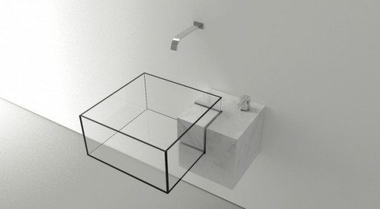 Transparent Glass Cube Sink That Looks Invisible