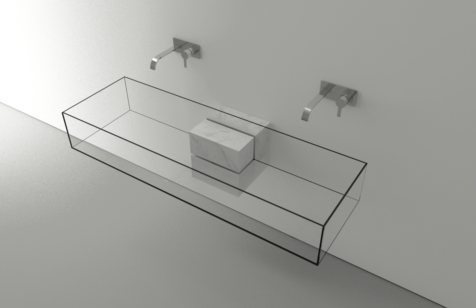 Transparetn Glass Cube Sink That Looks Invisible