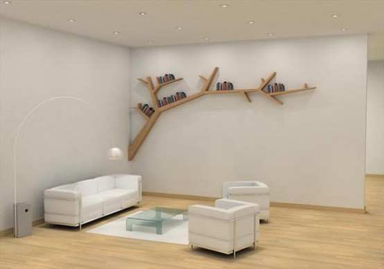 Stylish and Simple Tree Branch Bookshelf