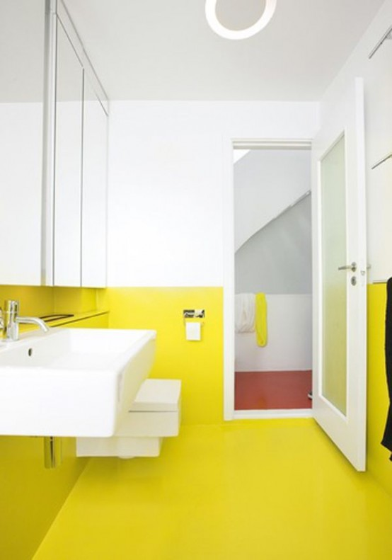 38 trendy ways to color block your home digsdigs Bright yellow wall paint