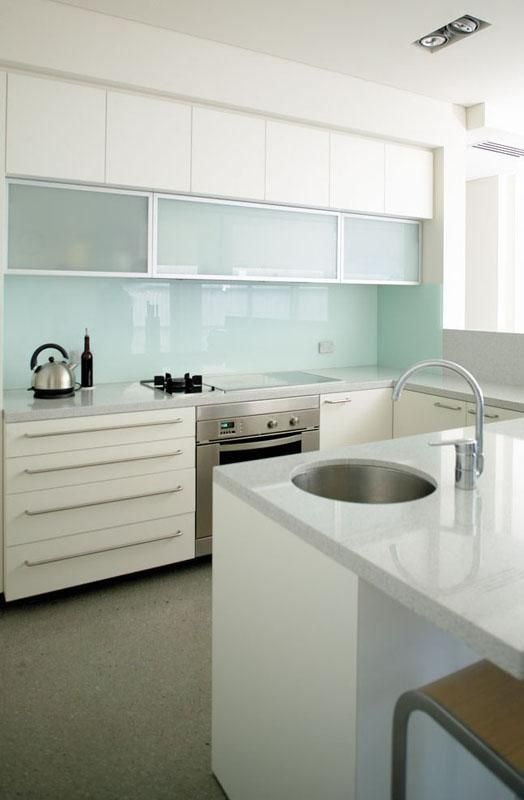 Picture Of trendy minimalist solid glass kitchen backsplashes  1