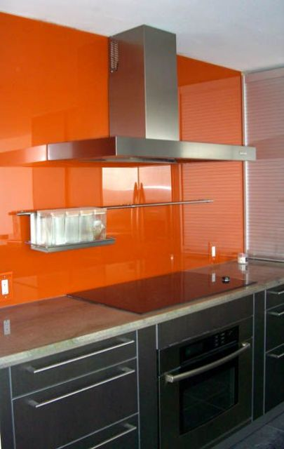 Picture Of trendy minimalist solid glass kitchen backsplashes  10