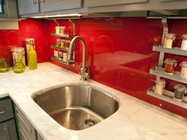 Picture Of trendy minimalist solid glass kitchen backsplashes  15