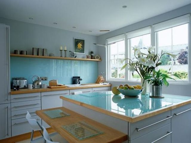 Elegant Trendy Minimalist Solid Glass Kitchen Backsplashes